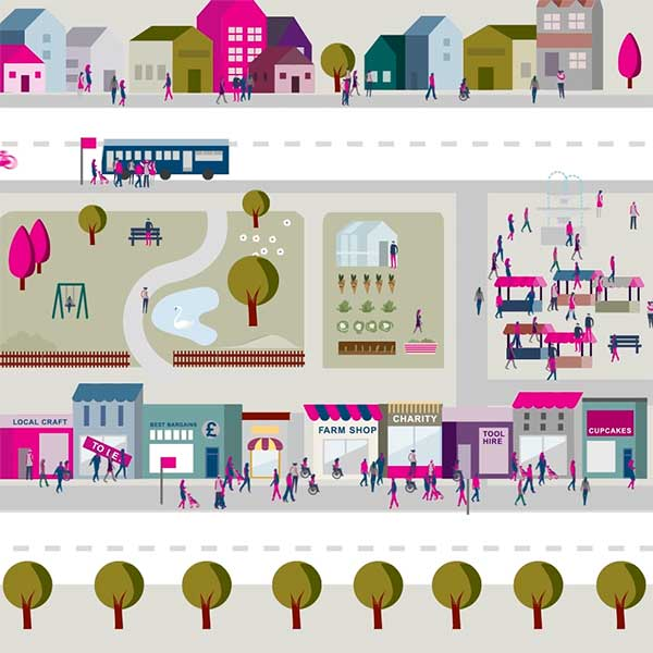 A still frame from an animation showing the relationship between businesses and the community.